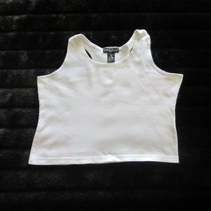 ONE STEP UP - WHITE CROPPED TANK
